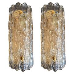 Pair of Swedish Orrefors 1950s Carl Fagerlund Glass Wall Lights