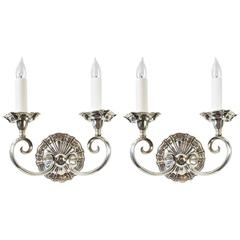 Magnificent EF Caldwell Silver over Bronze Two-Arm Sconce Pair