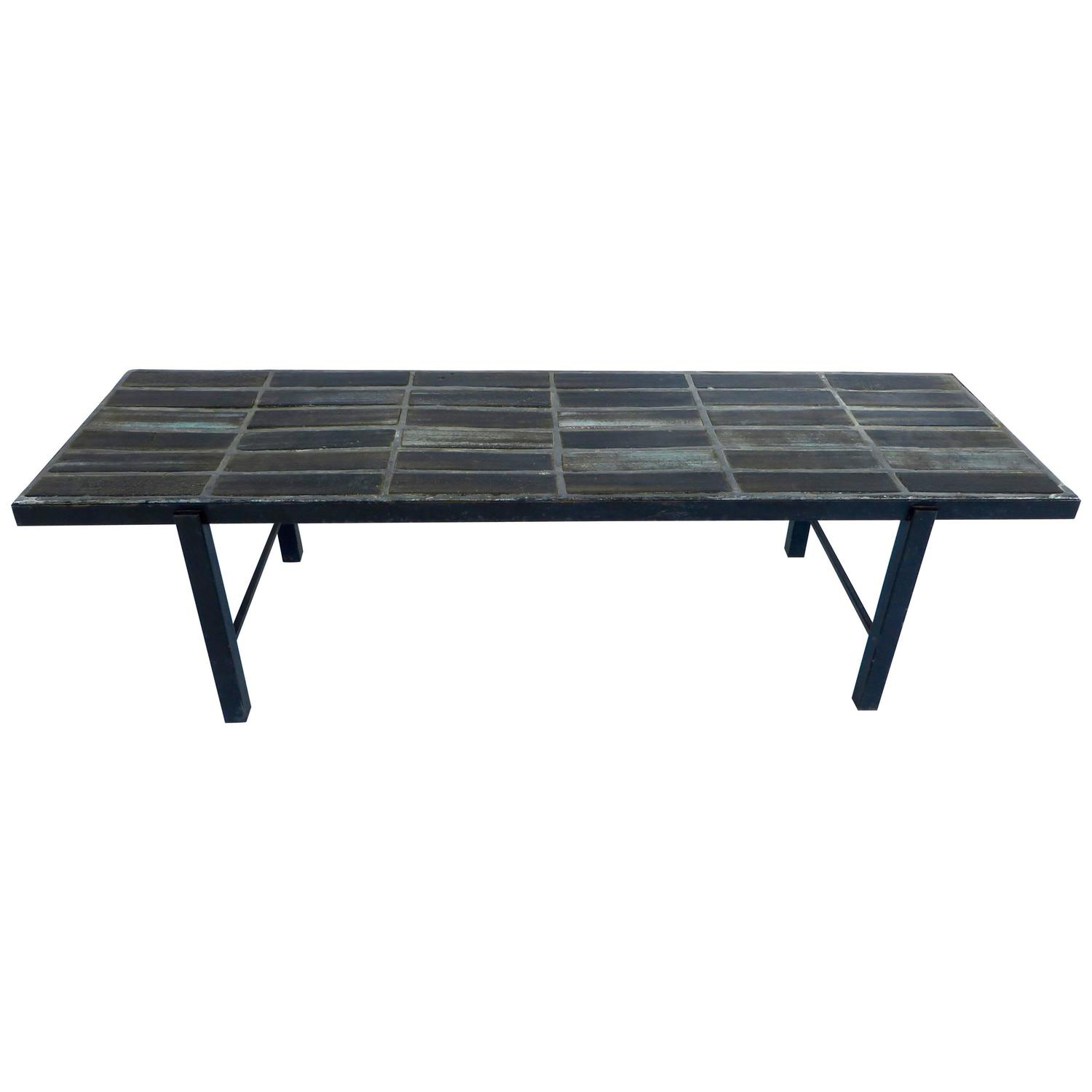 French Ceramic Tile Mosaic Blue Gray Coffee Table Or Bench By Nicole Raude