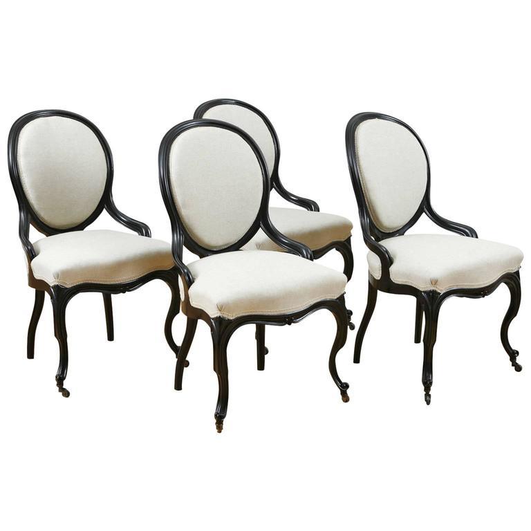 Set of Four Napoleon III Ebonized Salon Side Chairs, France, circa 1870