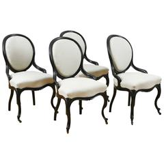 Set of Four Napoleon III Ebonized Salon Side Chairs, France, circa 1870
