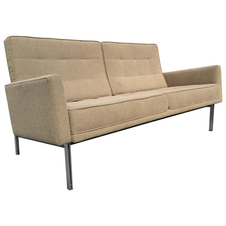 Vintage Florence Knoll Parallel Bar Sofa Settee For