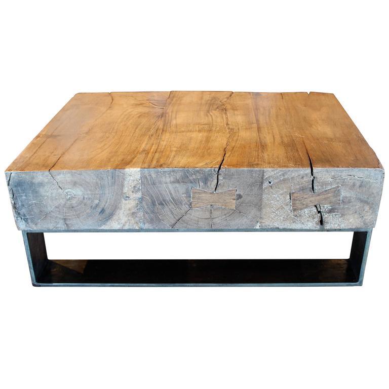Teak Wood Slab Coffee Table: Teak Slab Coffee Table At 1stdibs