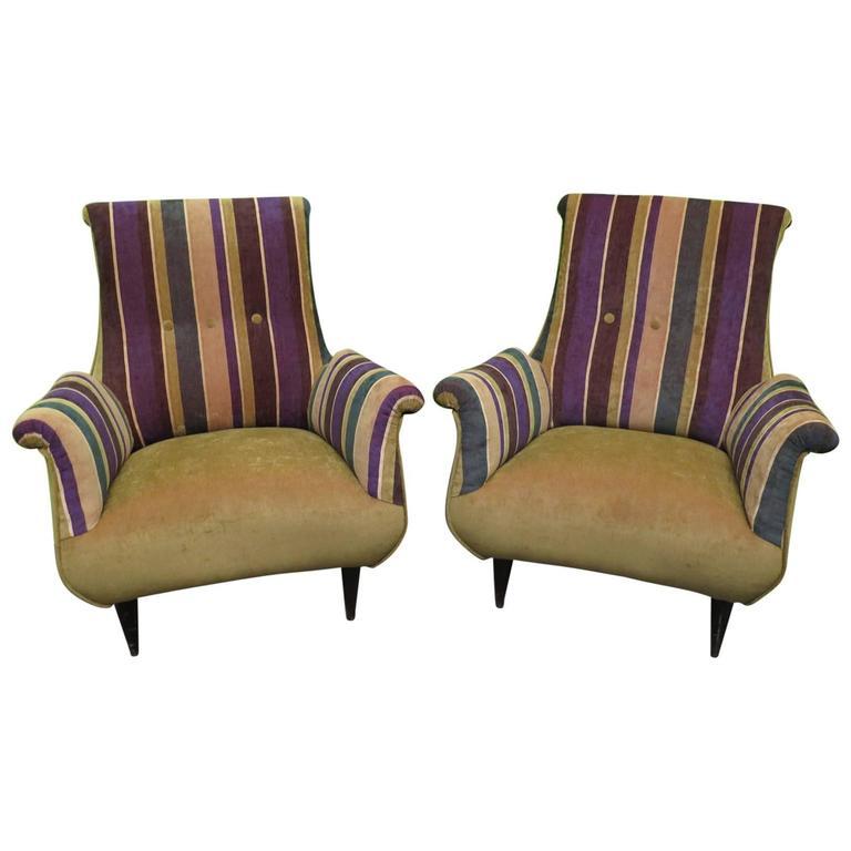 1950 Velvet Bicolored Italian Mid-Century Armchairs