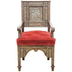 19th Century Syrian Mother-of-pearl Inlaid Armchair