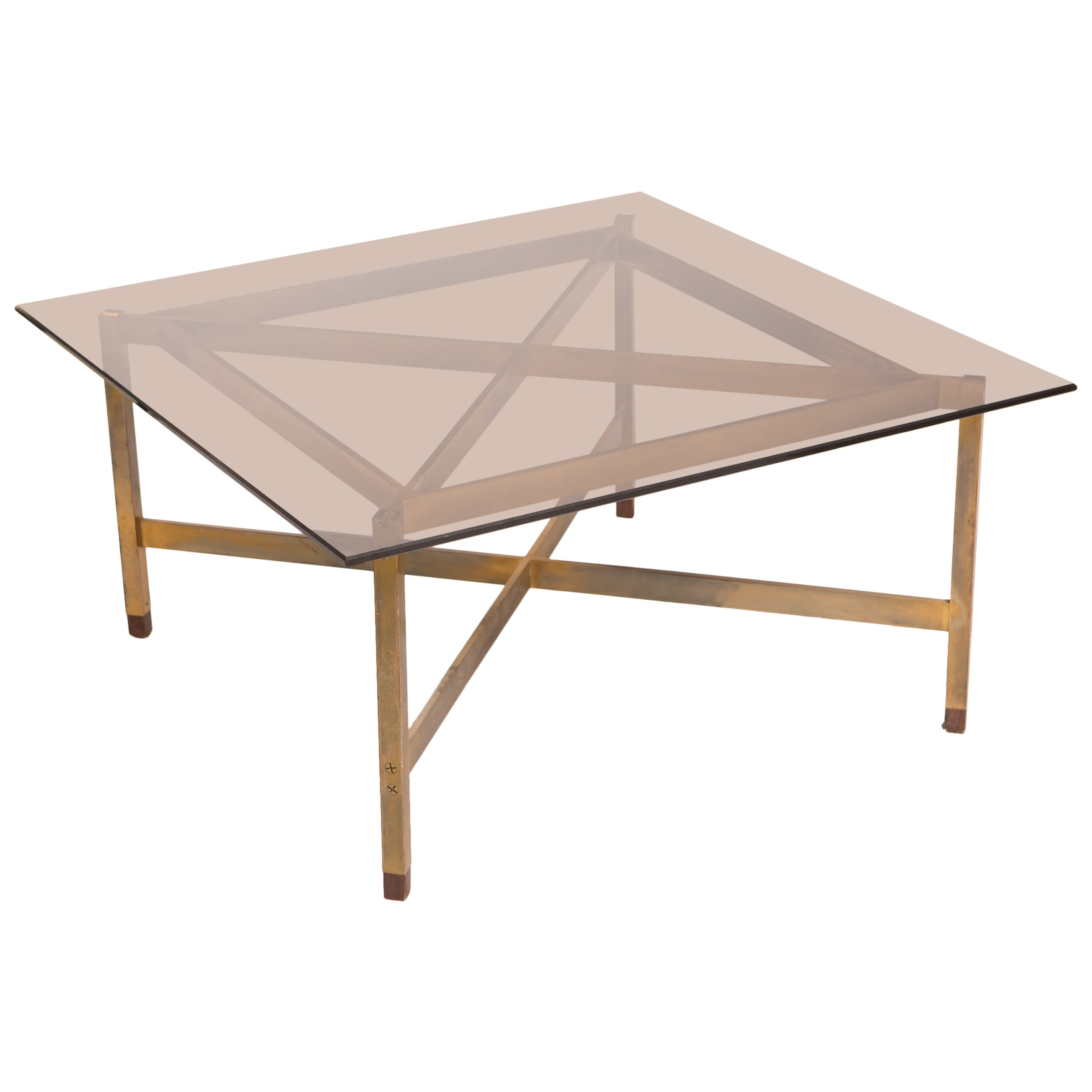 Mid-Century Modern Brass Coffee Table