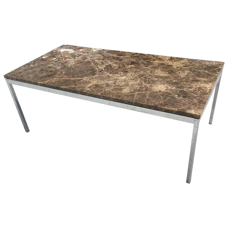 Florence knoll emperador dark marble coffee table for Florence knoll coffee table