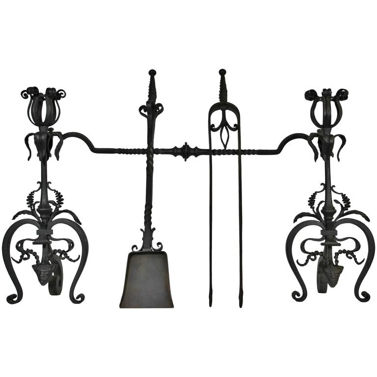 Pair of Gothic Revival Wrought Iron Andirons with Figural Horned Devils