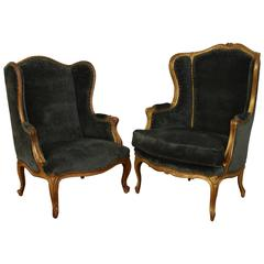 Matched Pair of French Louis XV Style 19th Century Carved Giltwood Bergeres