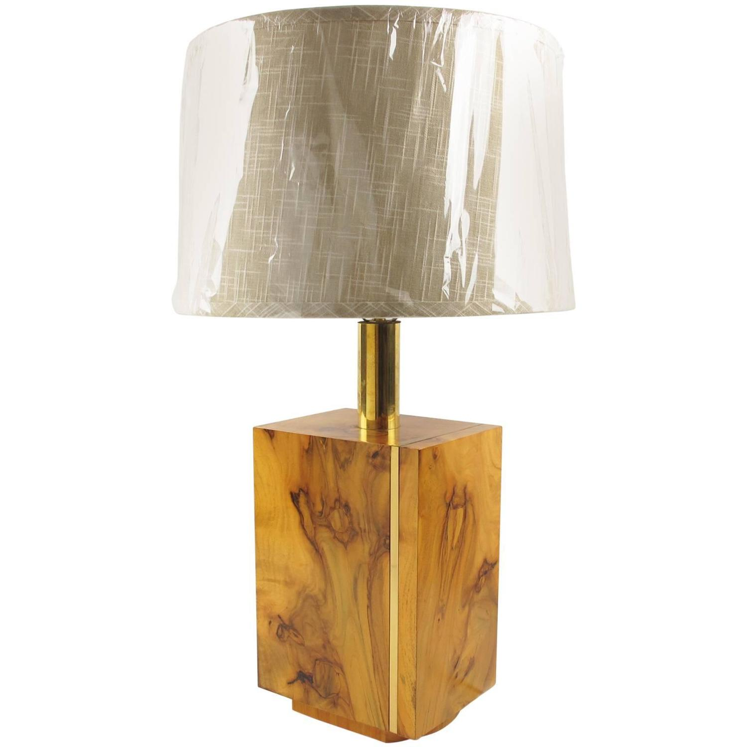 french mid century modernist burl wood and brass table lamp at 1stdibs. Black Bedroom Furniture Sets. Home Design Ideas