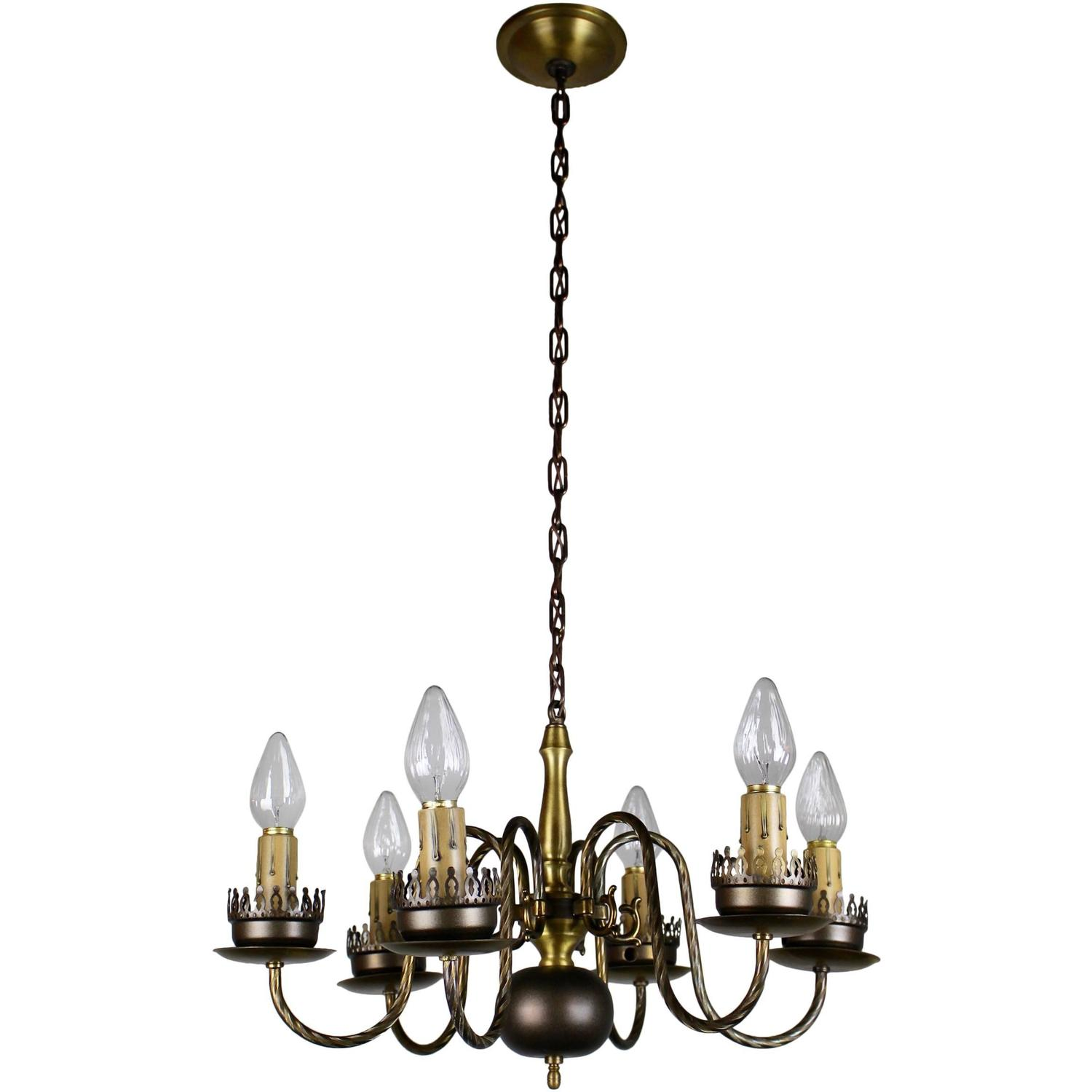 Chandelier Lighting Vancouver Bc: Six-Arm Colonial Revival Candelabra Style Chandelier Two