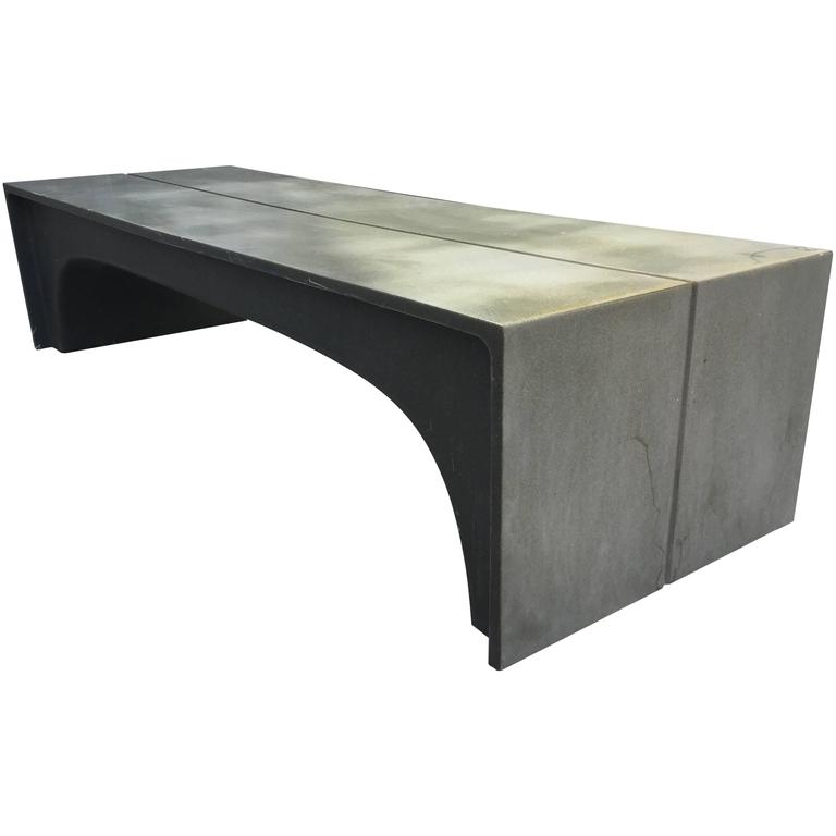 Mid-Century Vintage Stone and Fiberglass Architectural Bench 1