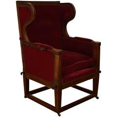 French Walnut and Upholstered 19th Century Reclining Bergere
