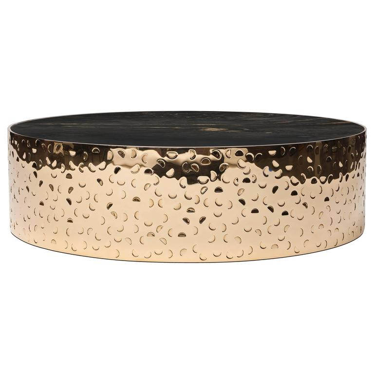 HISPAR Coffee Table - Hand-Hammered Polished Bronze + Marble  For Sale