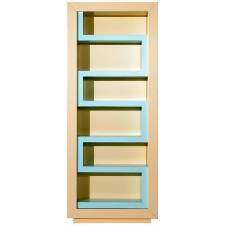 Contemporary Furniture Memphis: Contemporary Beige And Aqua Lacquer Bookshelf, Memphis