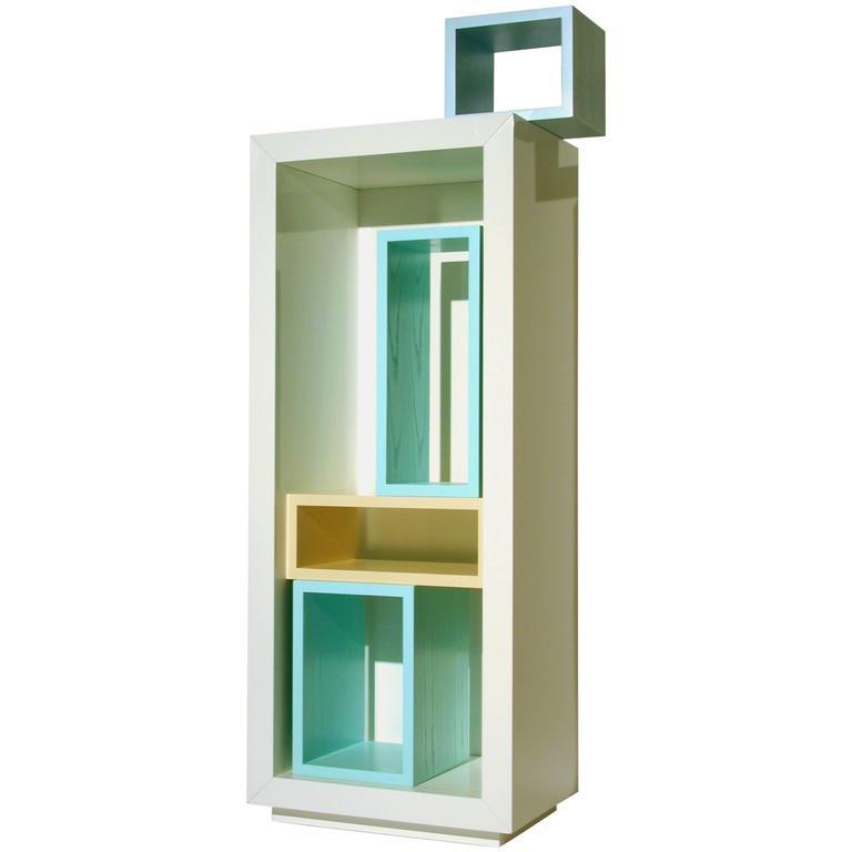 White Lacquer Storage Bookshelf With Colorful inserts, Modern Italian Design