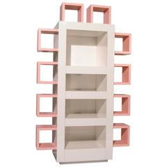 Contemporary Italian Lacquered White and Pink Bookshelf, Memphis Postdesign