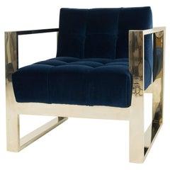 Modern Style Kube Chair Tufted in Navy Velvet w/ Brass U-Leg Frame