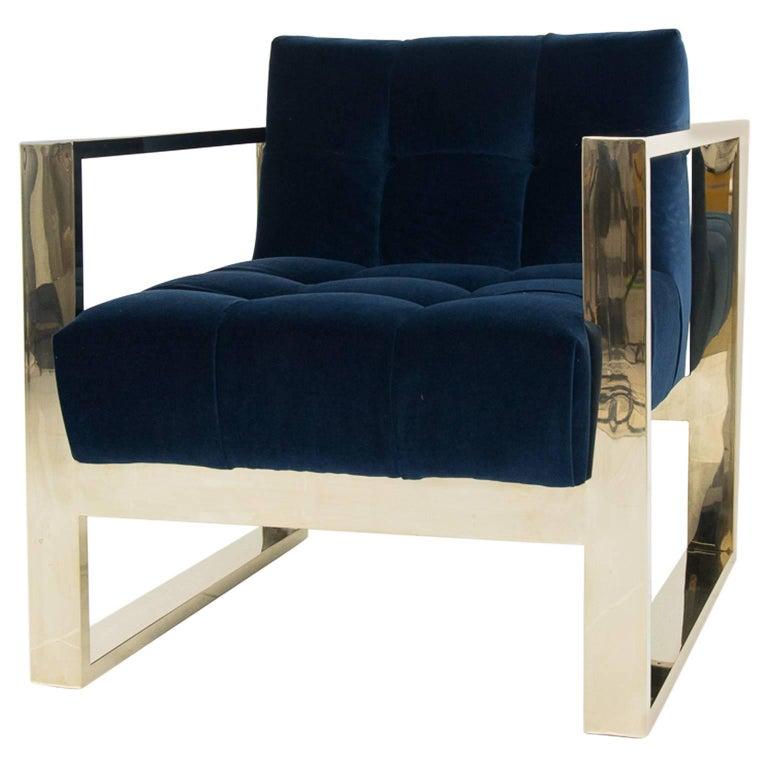 Modern Style Kube Chair Tufted in Navy Velvet w/ Brass U-Leg Frame For Sale
