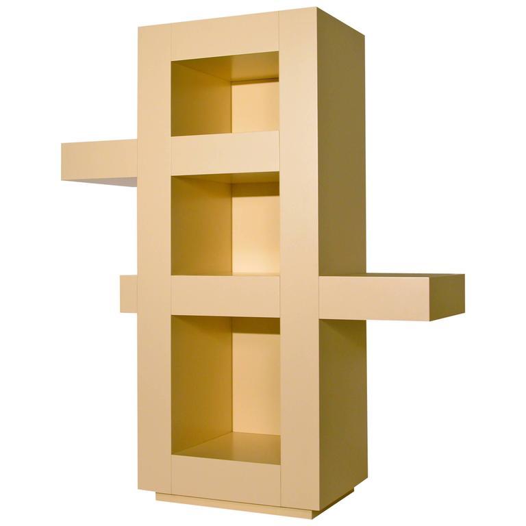 Contemporary Beige Lacquer Freestanding Bookshelf, Credenza, Memphis Postdesign