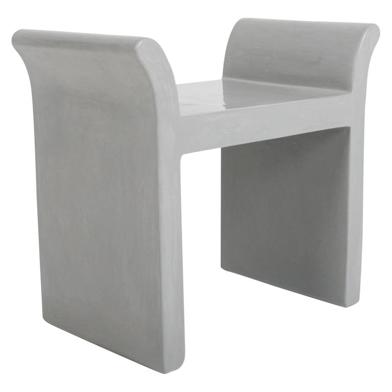 Vanity Seat in Grey Lacquer by Robert Kuo, Limited Edition For Sale