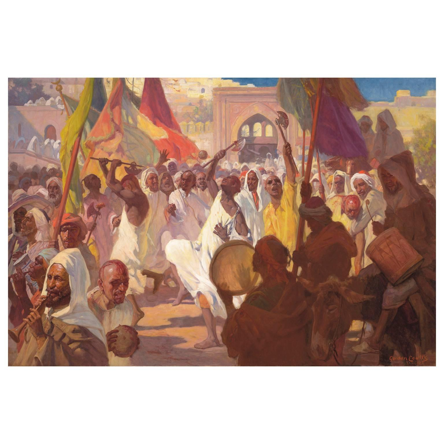 """Very Fine and Large Orientalist Oil on Canvas Titled """"Ashura Rituals, Tangier"""""""