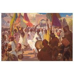 "Very Fine and Large Orientalist Oil on Canvas Titled ""Ashura Rituals, Tangier"""