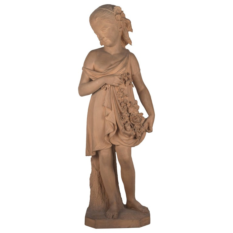Statue of a Young Girl with a Garland of Flowers For Sale