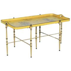 Antique Italian Metal Coffee Table with Original Yellow Paint