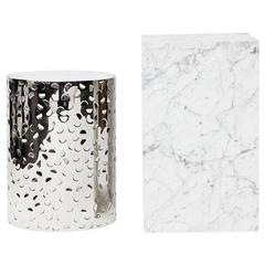 BIAFO + AIALIK nesting tables - Hand-Hammered Stainless Steel + Marble