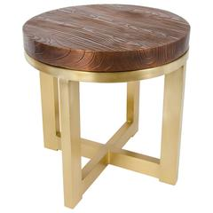Copper Wood Grain Top with Brass Base Side Table by Rober Kuo, Limited Edition