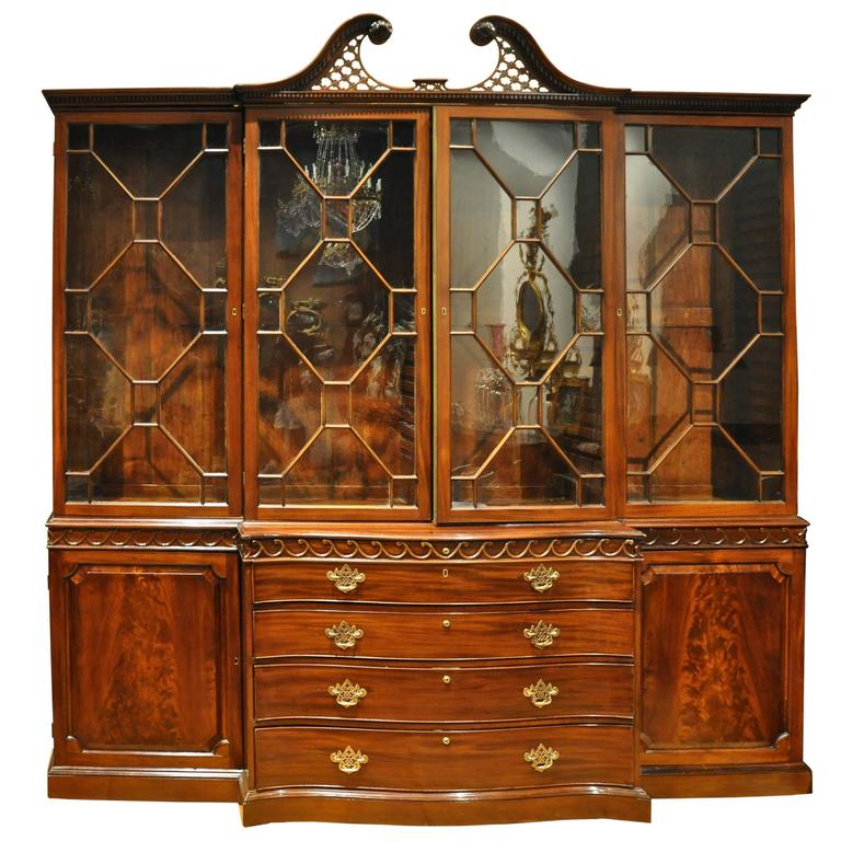 Period 18th Century George III Chippendale Mahogany Breakfront