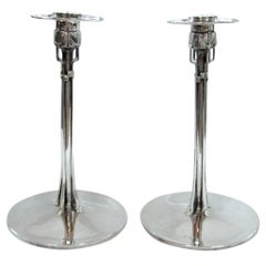 Pair of Sterling Silver Cymric Candlesticks, Archibald Knox for Liberty and Co