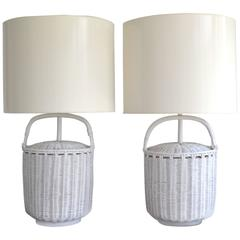 Pair of Mid-Century Woven Reed Basket Form Table Lamps