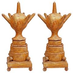 Pair of Gate Posts Sculptures circa 19th Century