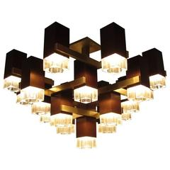 Cubic Chandelier in Bronze by Gaetano Sciolari