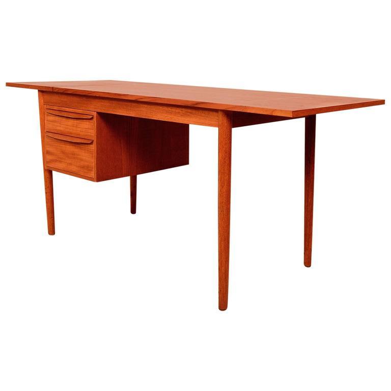 Danish Modern Teak Desk, Sliding Drawers 1