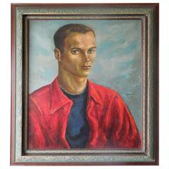 1952 Beautiful Male Portrait Original Paintaing by Robert Kennicott
