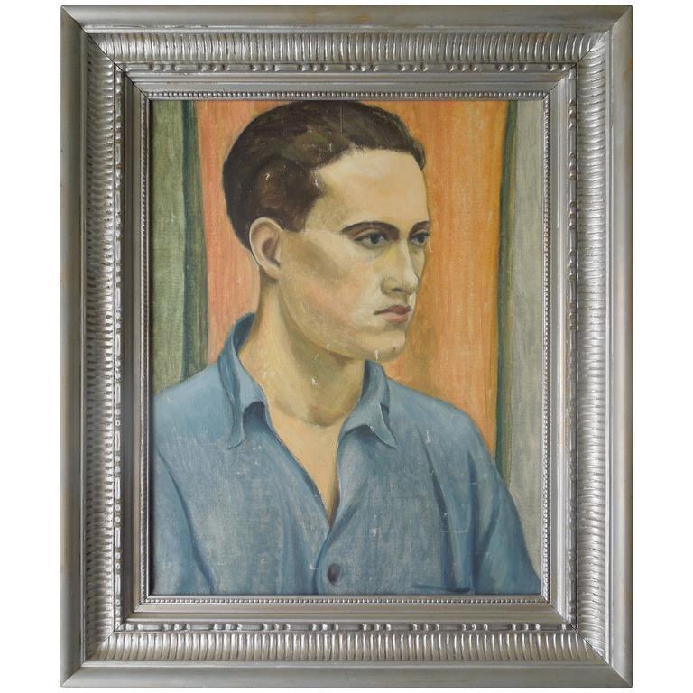 WPA Artist Original Oil Painting 40s Portrait of a Handsome Man