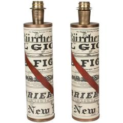 """Pair of Fornasetti """"Journali"""" Table Lamps"""