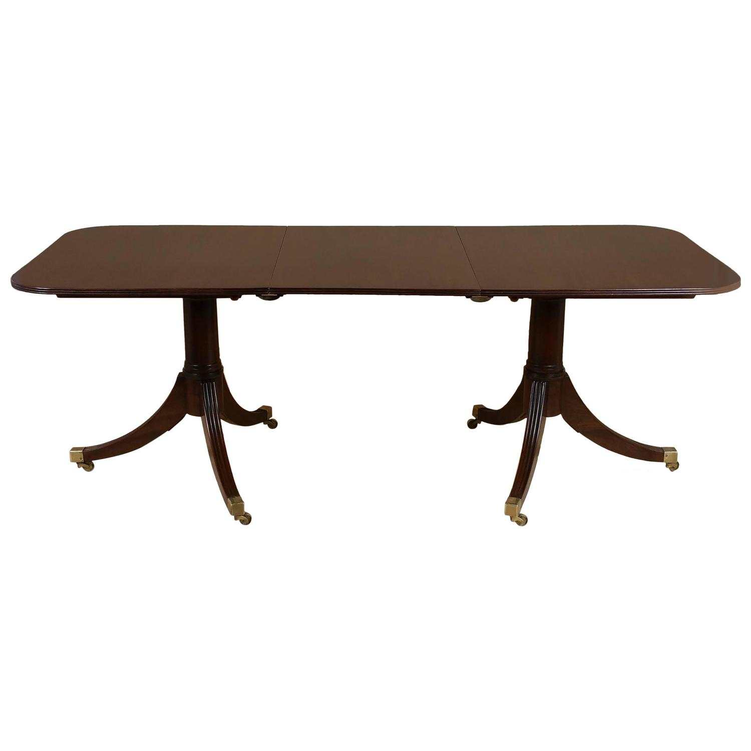 Georgian style solid mahogany twin pillar dining table for for Pillar dining table