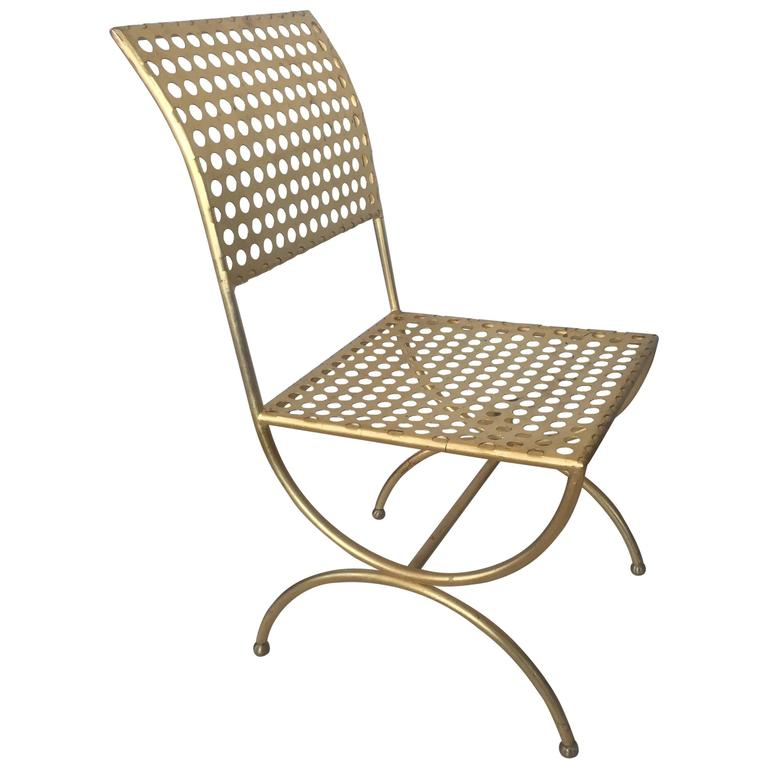 Tony Duquette Gilt Iron Palmer Chair For Sale