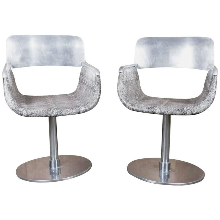 Pair of Italian Faux Python Swivel Chairs