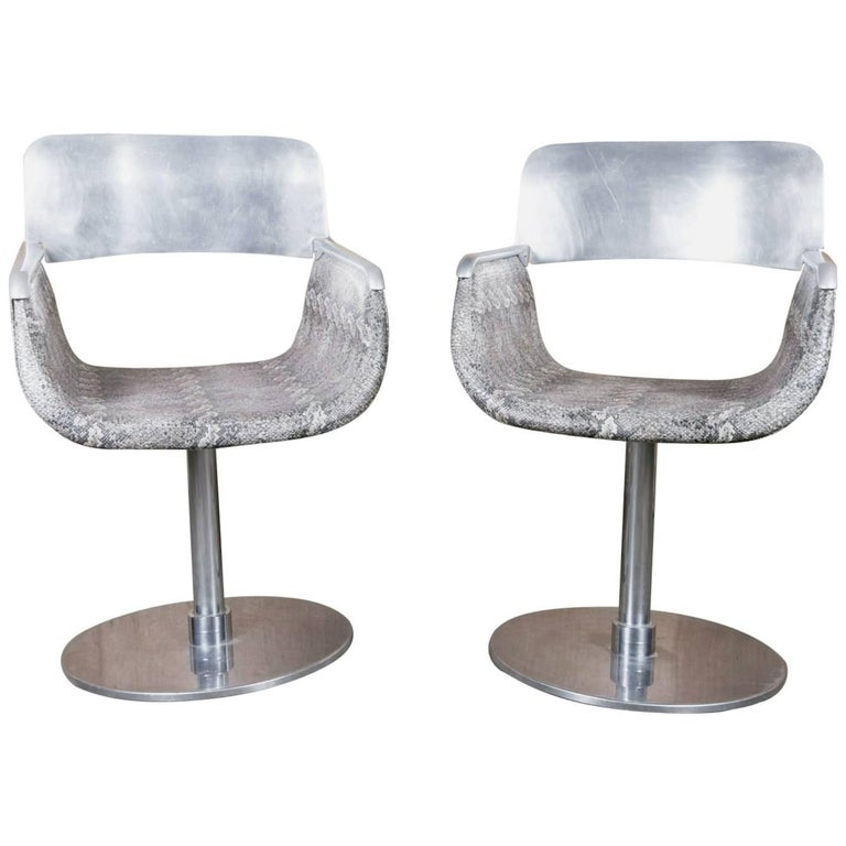 Pair of Italian Faux Python Swivel Chairs For Sale