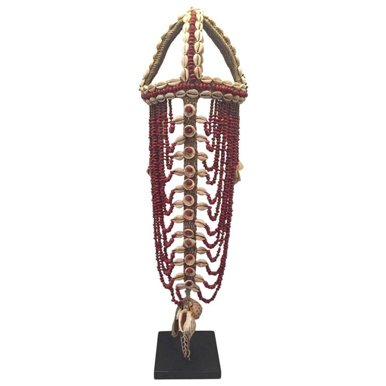 Headdress from Papua New Guinea Made from Cowrie Shells and Red Seeds, Mounted  1
