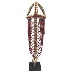 Headdress from Papua New Guinea Made from Cowrie Shells and Red Seeds, Mounted