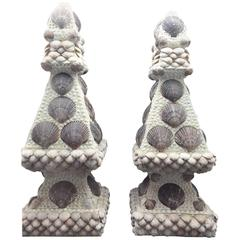 Pair of Obelisks Encrusted with Atlantic Bay Scallops from Long Island Beaches
