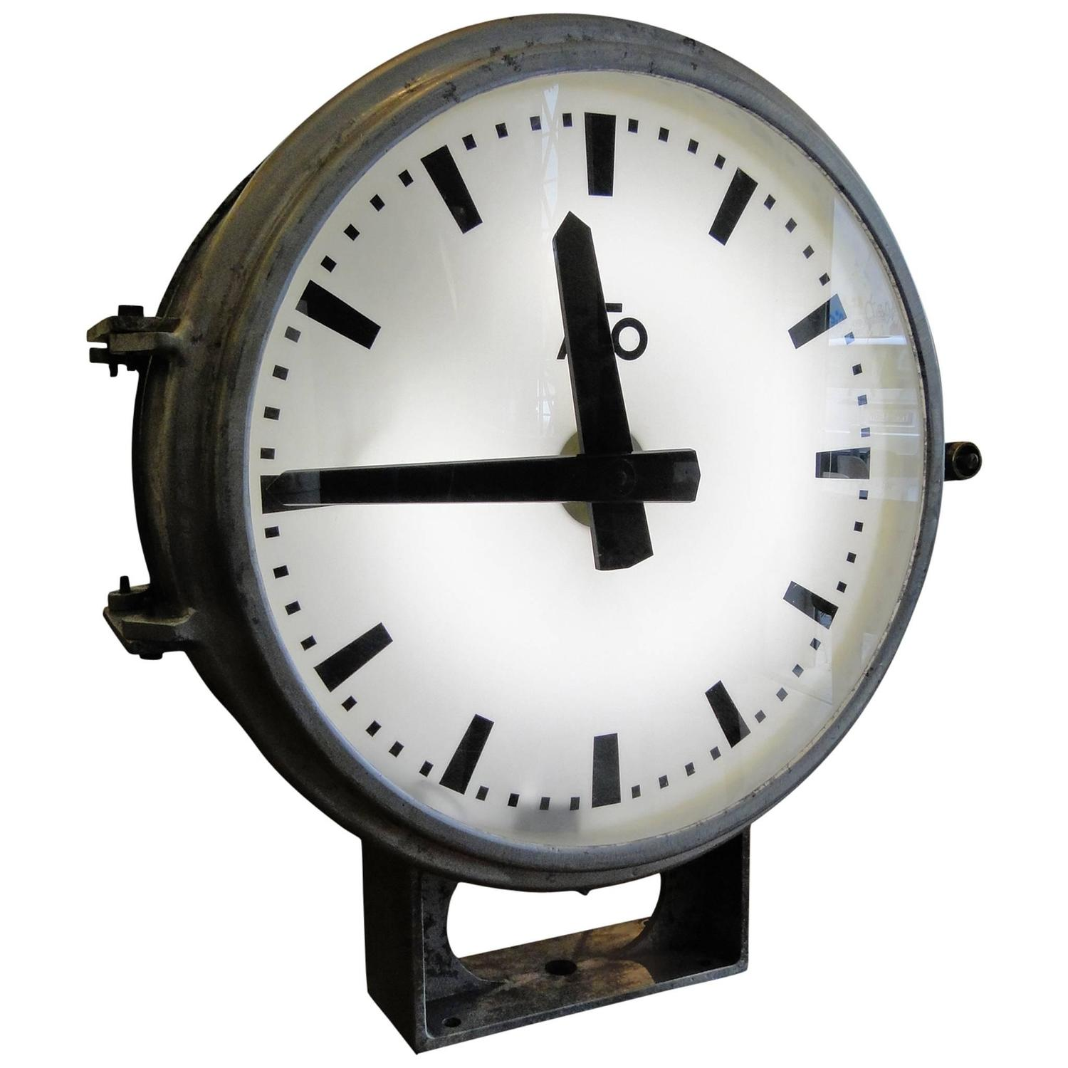 vintage french ato brillie station railway clock factory industrial double side at 1stdibs