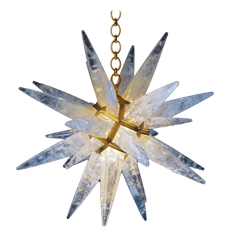 Rock Crystal Star Chandelier by Alexandre Vossion For Sale
