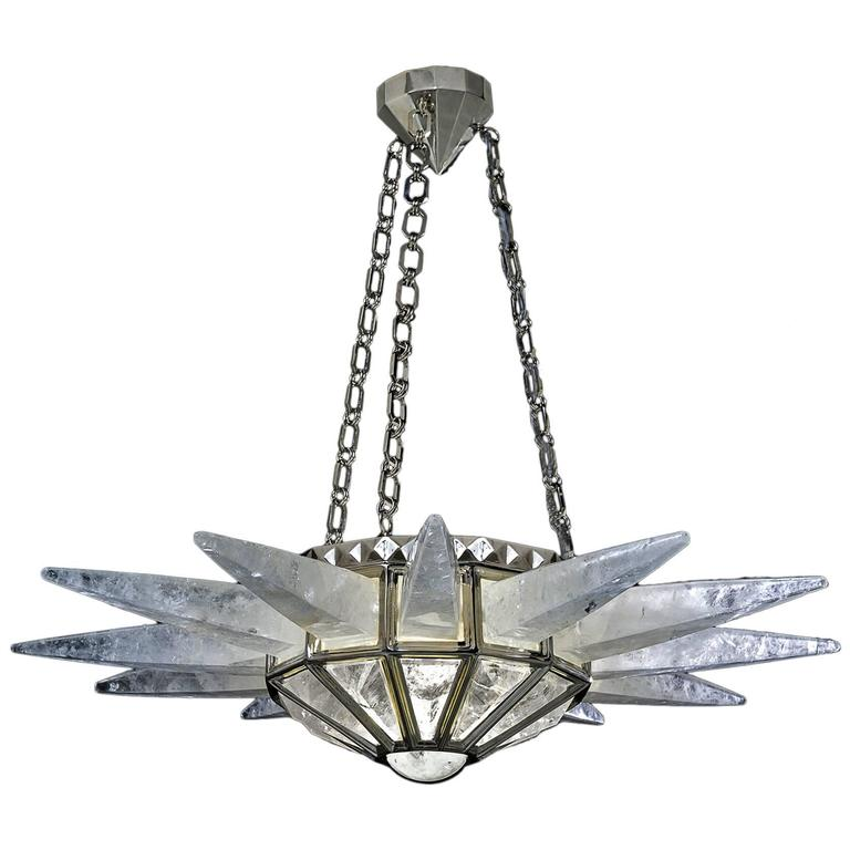 Rock Crystal Sunshine Chandelier by Alexandre Vossion For Sale